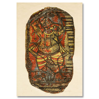Meena Baya, woodcut in colour